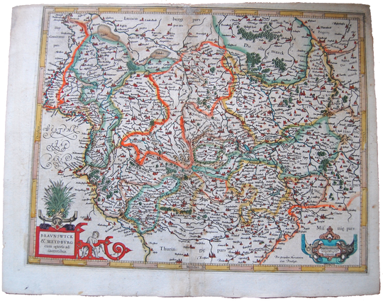 Germany Antique Original Mercator Map Braunswyck et Meydbu Deutschland Landkarte