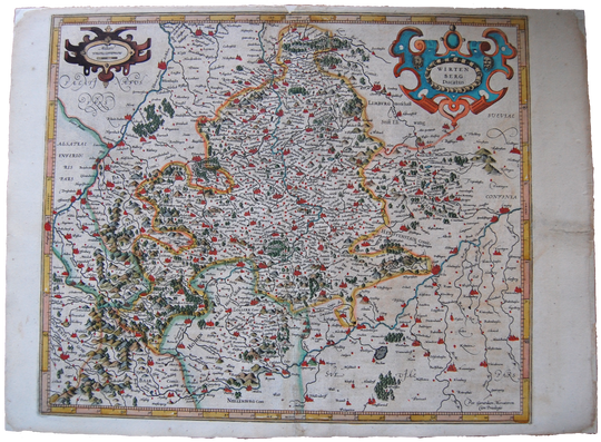 Germany Antique Original Mercator Map Württemberg ducatus Deutschland Landkarte