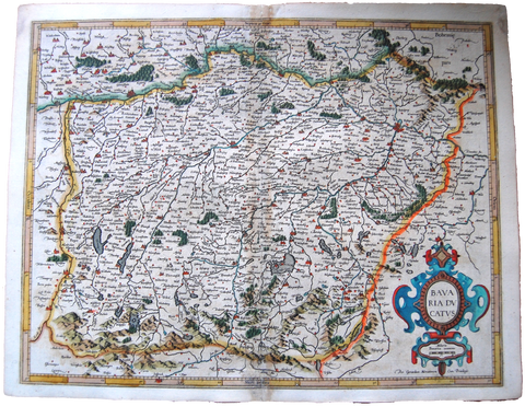 Germany Antique Original Mercator Map Bavaria ducatus Deutschland Landkarte