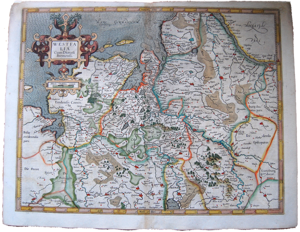 Germany Antique Original Mercator Map Westfalia Bremen Deutschland Landkarte