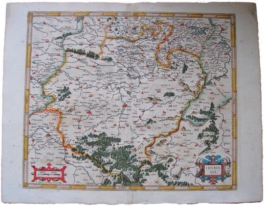 Germany Antique Original Mercator Map Thuringia Deutschland Landkarte