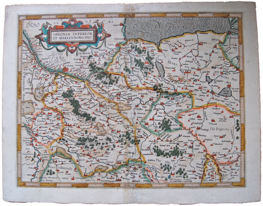 Germany Antique Original Mercator Map Saxonia Meklenburg Deutschland Landkarte