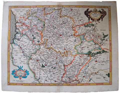 Antique Original Mercator Map Artesia Flanders France