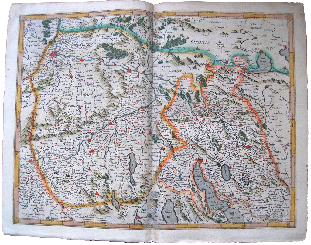 Switzerland Antique Mercator Map Schweiz Suisse Svizzera Landkarte Zurich