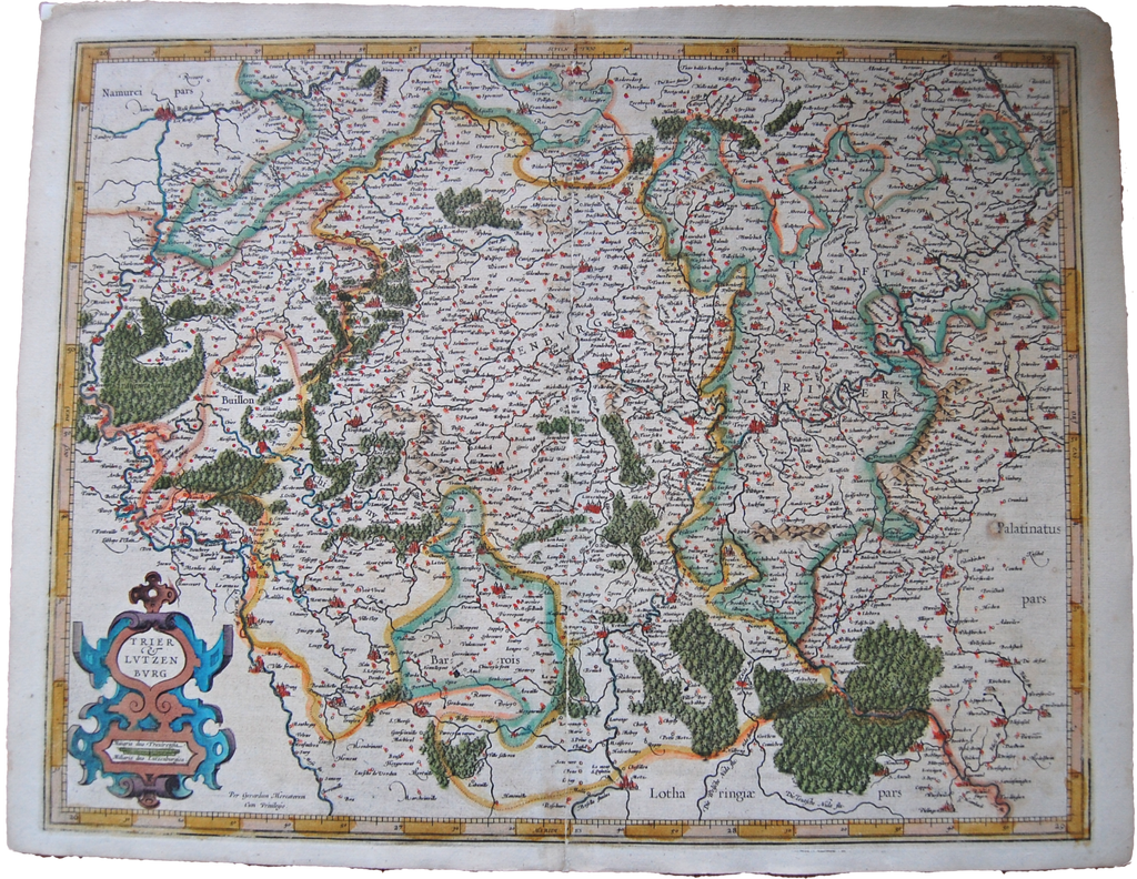 Luxembourg Antique Original Mercator Map Deutschland Landkarte