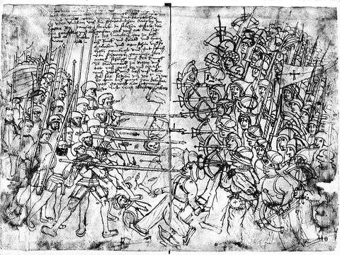 Scene from the begin of the Dano-Swedish war (1501-1512), Danish and German mercenaries are fighting against rebellious Swedish peasant's forces