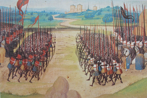 MANUSCRIPT OF KNIGHTS GETTING SHOT BY ARROWS