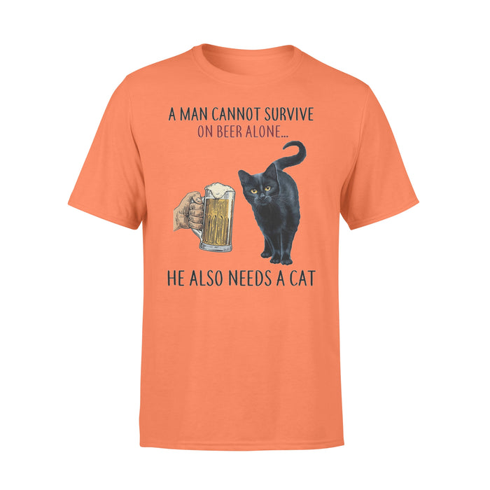 WildFreeSpirit Cat T Shirt Funny Meme A Woman Cannot Survive On Beer Alone - Standard T-shirt