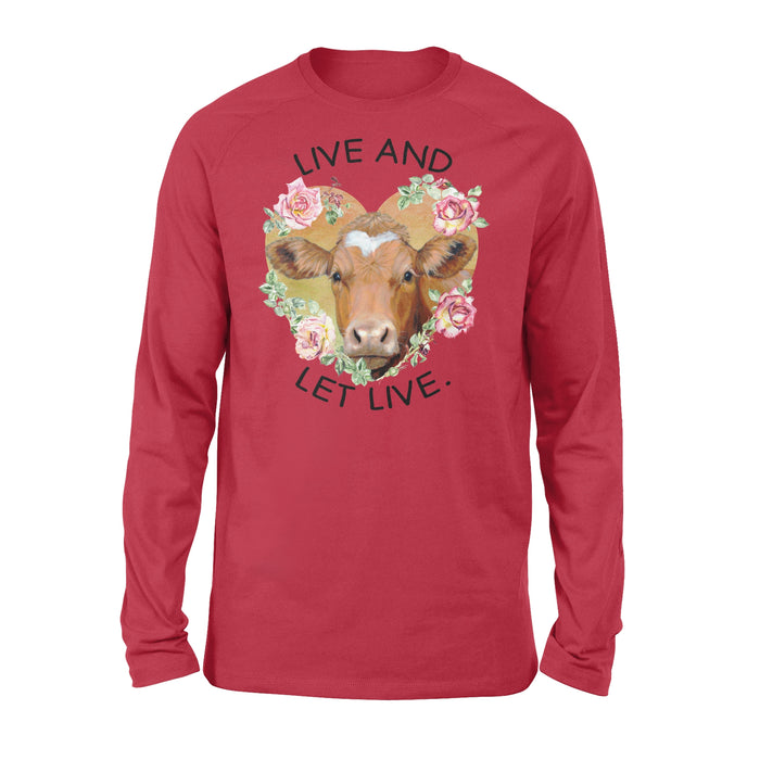 WildFreeSpirit Vegan Shirts  Cow Live And Let Live - Standard Long Sleeve
