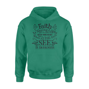 WildFreeSpirit Jesus Shirt Funny Christian T Shirts Faith Is Seeing Light With Your Heart - Standard Hoodie