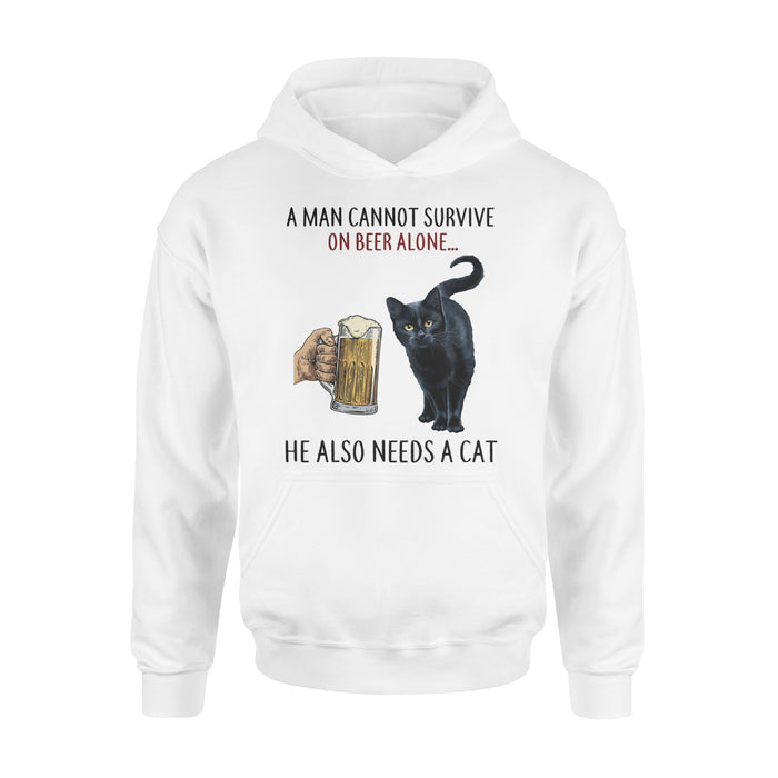 WildFreeSpirit Cat Hoodie Funny Meme A Woman Cannot Survive On Beer Alone
