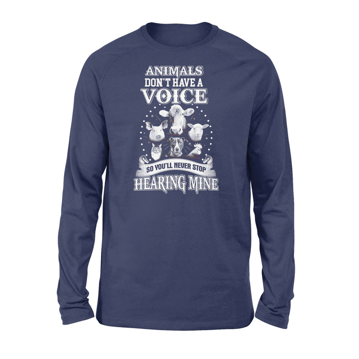 WildFreeSpirit Vegan Shirts Animals Dont Have A Voice - Standard Long Sleeve