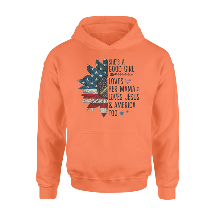 WildFreeSpirit Jesus Shirt She's A Good Girl Loves Her Mama Jesus America Shirt - Standard Hoodie