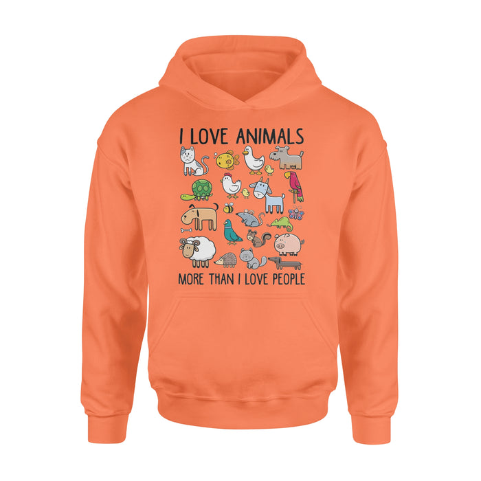 WildFreeSpirit Vegan Shirts  I Love Animals More Than I Love People - Standard Hoodie