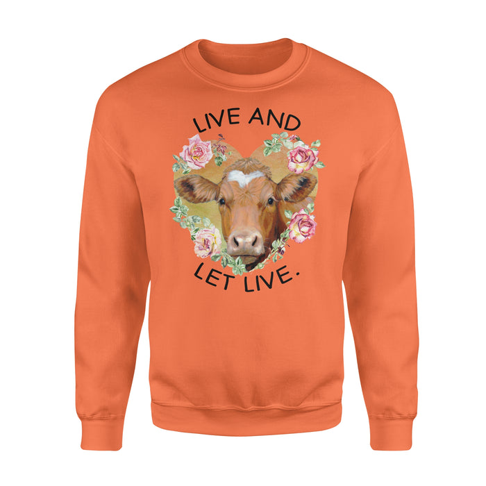 WildFreeSpirit Vegan Shirts  Cow Live And Let Live - Standard Fleece Sweatshirt