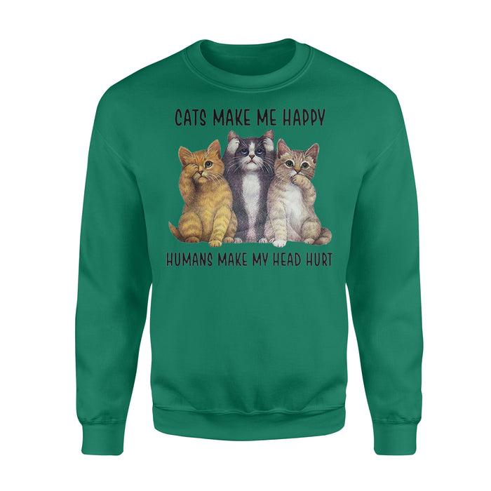WildFreeSpirit Cat T Shirt Cats Make Me Happy - Standard Fleece Sweatshirt