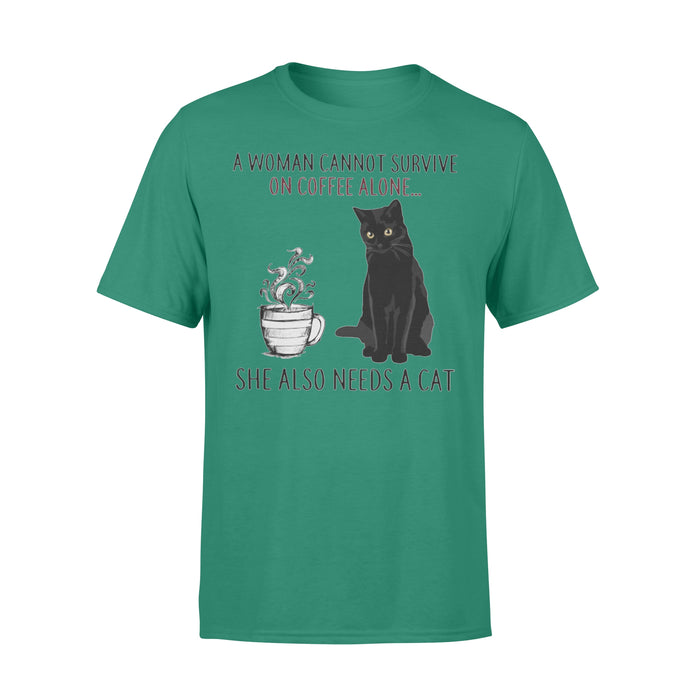 WildFreeSpirit Cat T Shirt Funny Meme A Woman Cannot Survive On Coffee Alone - Standard T-shirt