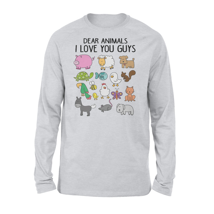 WildFreeSpirit Vegan Shirts Dear Animals I Love You Guys - Standard Long Sleeve