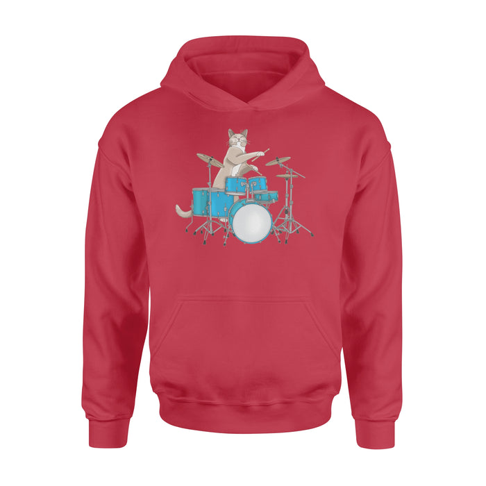 WildFreeSpirit Cat Hoodie Cat Drummer Punk Rockstar