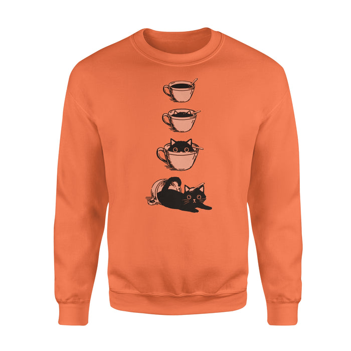 WildFreeSpirit Cat T Shirt Cute Cat Coffee Cup - Standard Fleece Sweatshirt