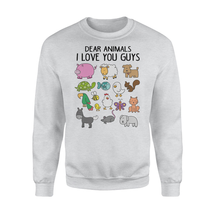 WildFreeSpirit Vegan Shirts Dear Animals I Love You Guys - Standard Fleece Sweatshirt