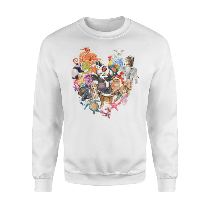 WildFreeSpirit Vegan Shirts Animal Heart - Standard Fleece Sweatshirt