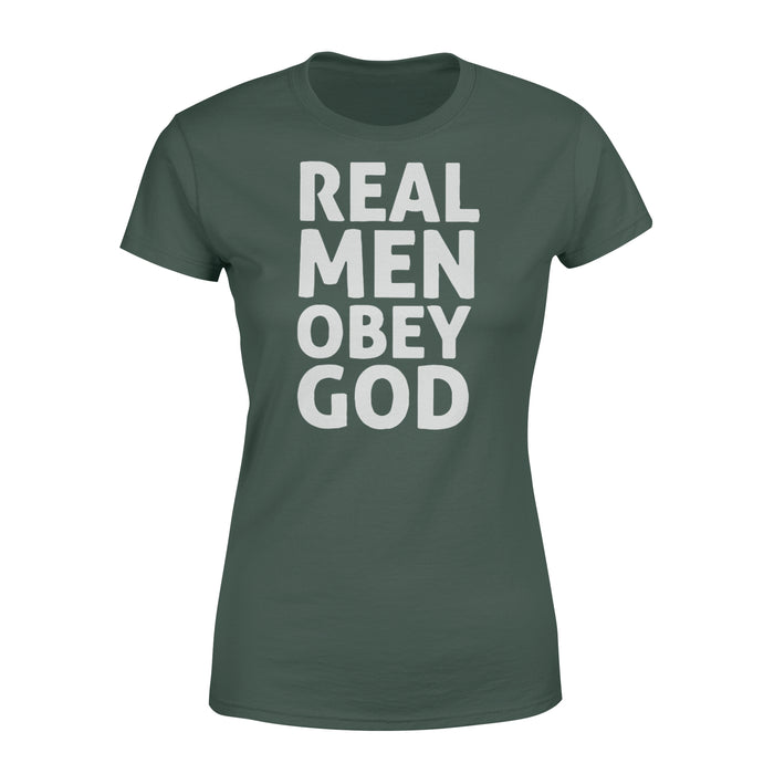 WildFreeSpirit Jesus Shirt Funny Christian T Shirts Real Men Obey God - Standard Women's T-shirt