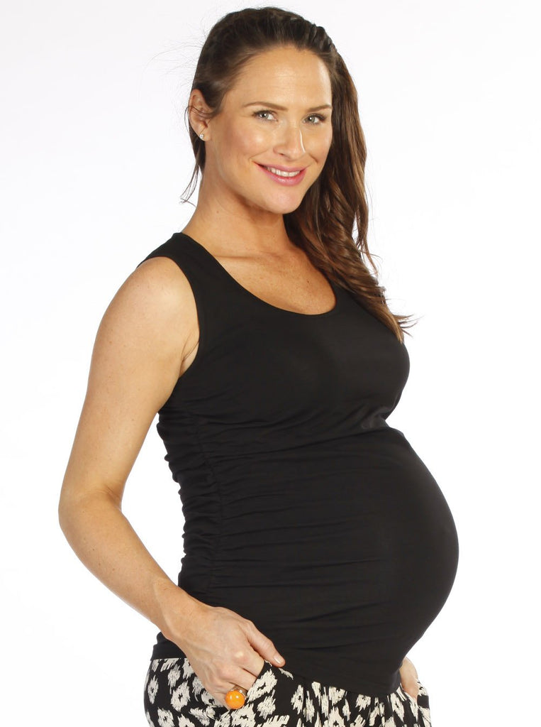 Cotton Maternity Tank With Side Ruching - Black -
