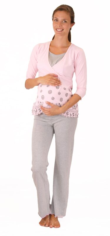 Lilly & Me Maternity & Nursing Pyjamas - Pink & Grey -