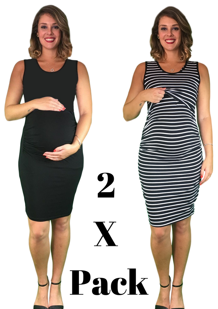 Maternity & Nursing Lift Up Dresses - Cotton - 2 x PACK -