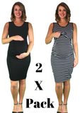 Maternity & Nursing Lift Up Dresses - Cotton - 2 x PACK - maternity tank dress