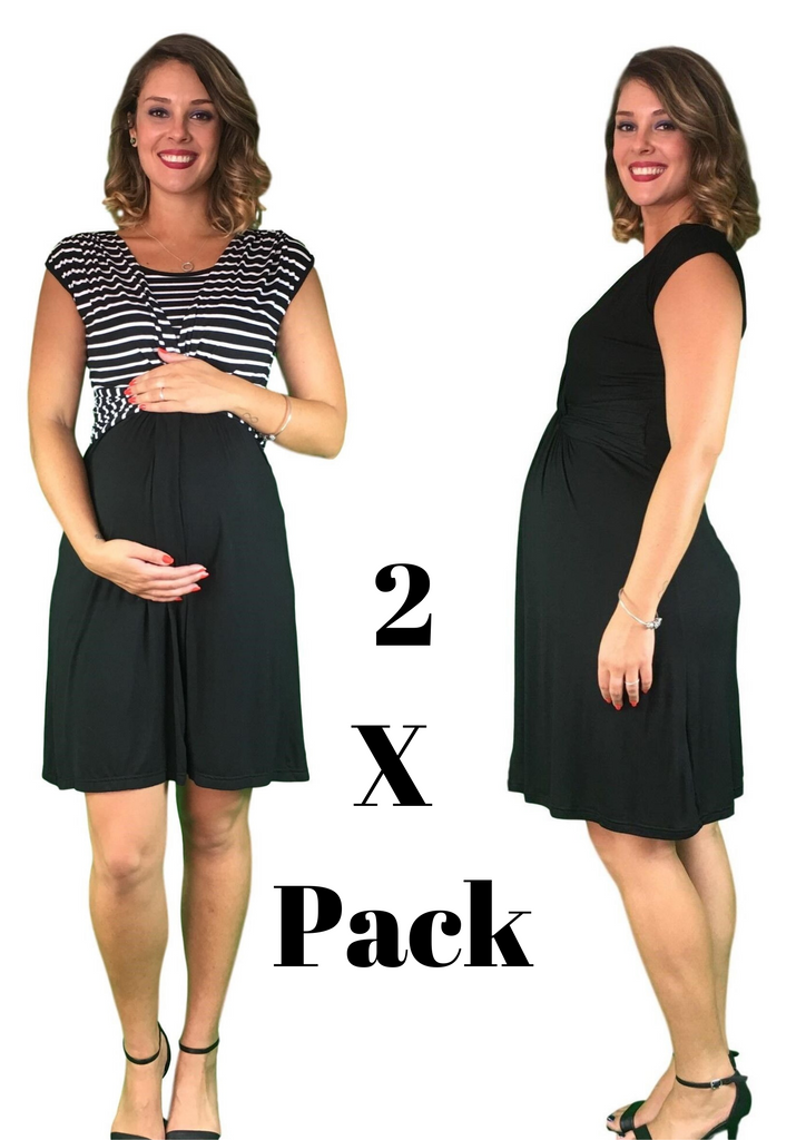 Maternity & Nursing Cotton Crossover Dresses - 2 x PACK -