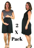 Maternity & Nursing Cotton Crossover Dresses - 2 x PACK - maternity dress
