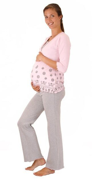 Lilly & Me Maternity & Nursing Pyjamas - Pink & Grey