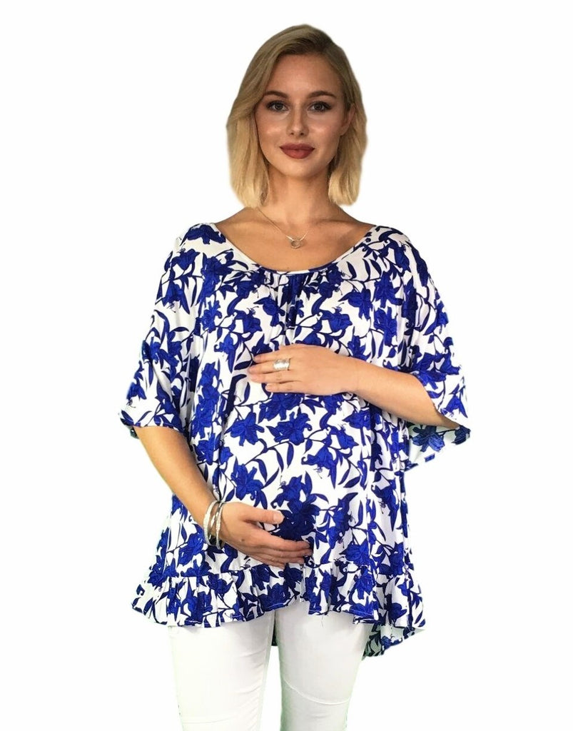 Maternity Top - Blue Print -