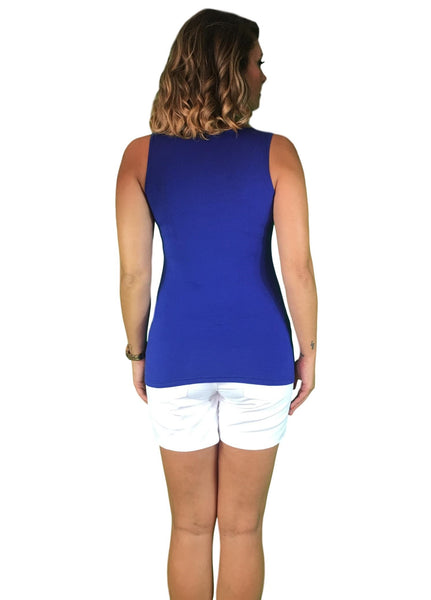 cotton maternity & nursing tank - blue