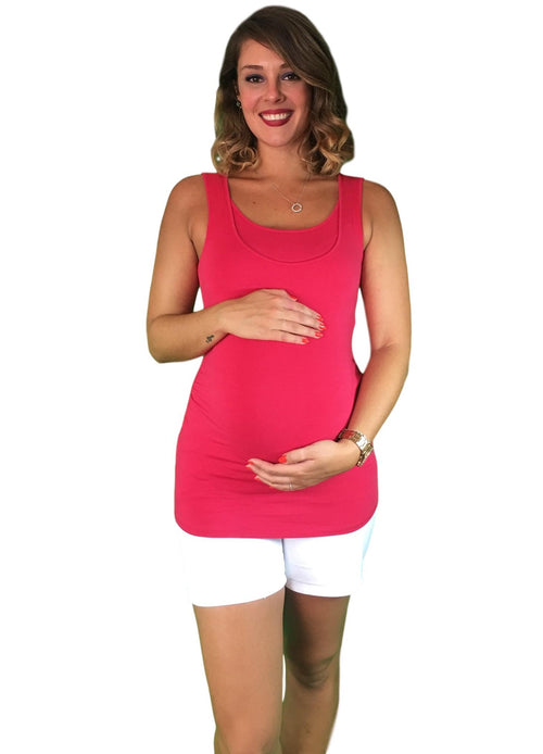 cotton maternity & nursing tank - pink