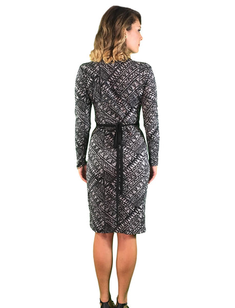 maternity wrap dress - black & white print