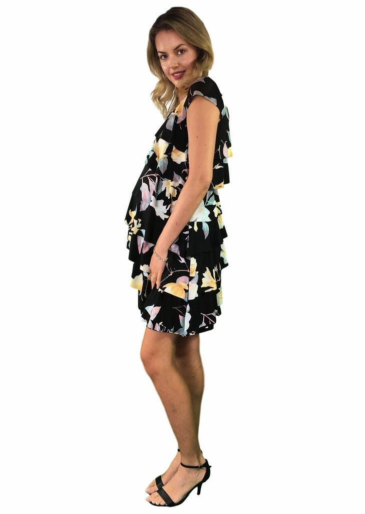Maternity Dress - Teaberry Ruffle Day to Night Dress - Black Floral Print -