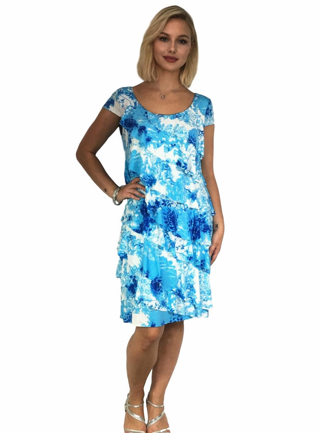 Maternity Dress - Teaberry Cap Sleeve Ruffle Dress - Blue Print