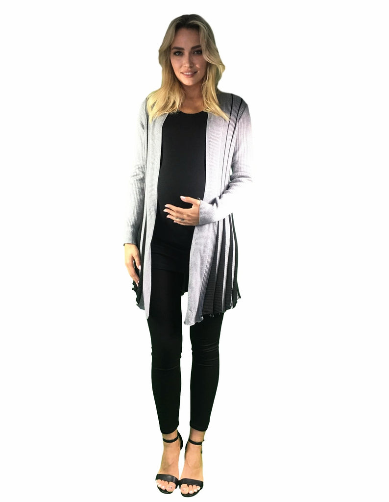 Knitted Maternity Waterfall Cardigan - Black & Grey -