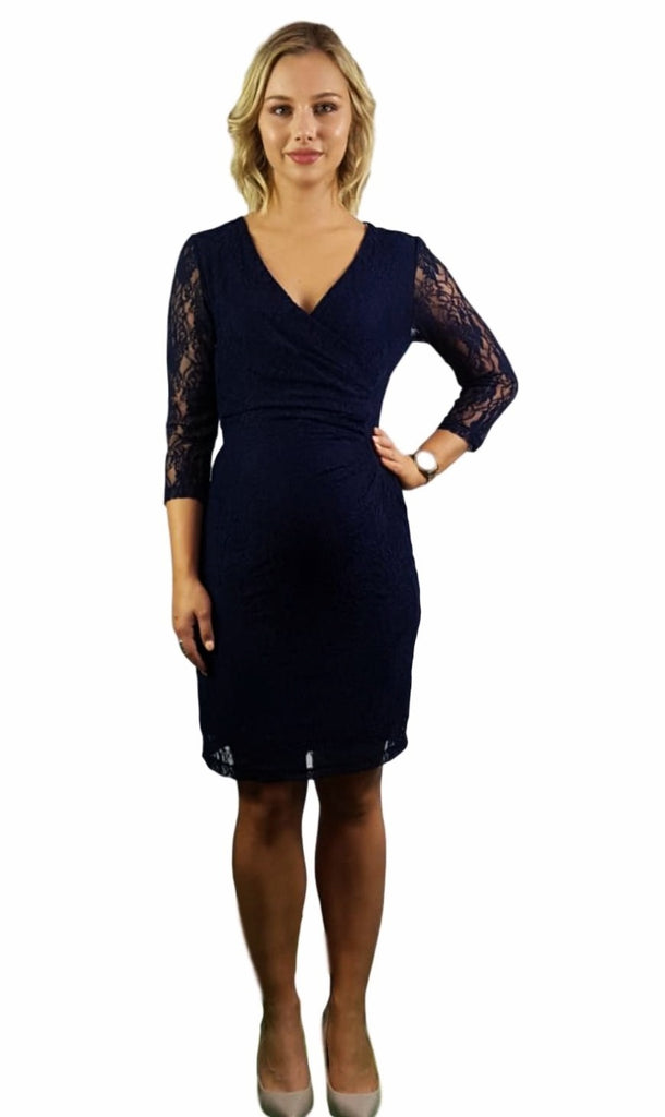 Maternity & Nursing Dress - Navy Lace -
