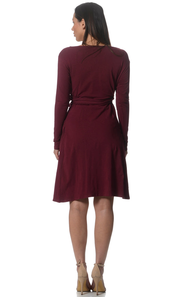 Lilly & Me Cotton Maternity & Nursing Wrap Dress - Red Wine