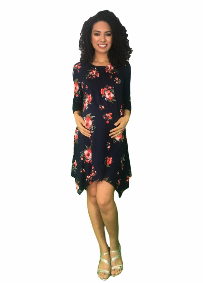 Maternity Dress - Navy Floral Print