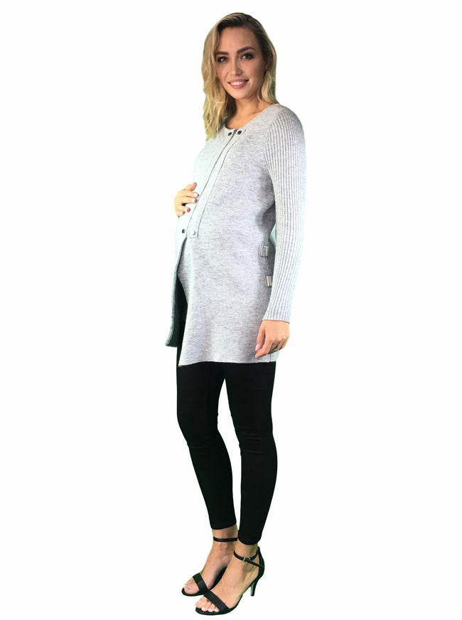 Knitted Maternity & Nursing Coat - Grey