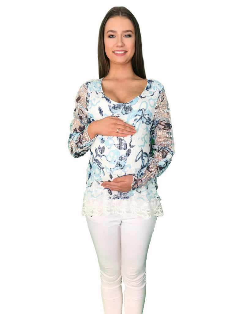 Lace Preppy Maternity Top -