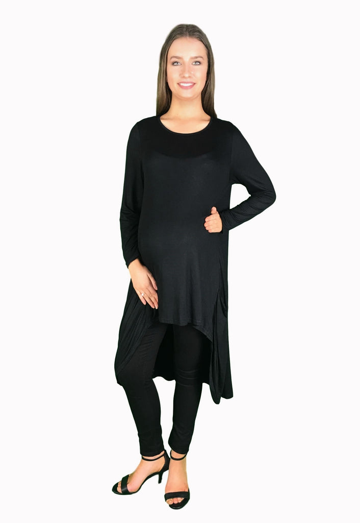 Extra Long Maternity Ruffle Tunic - Black -