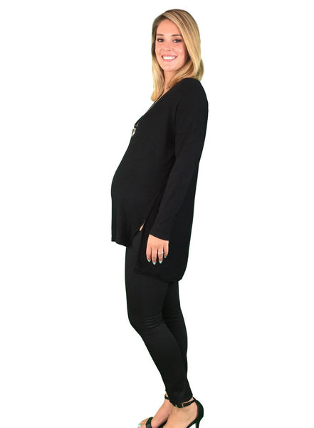 Knitted Maternity Jumper With Side Zipper Detail - Black
