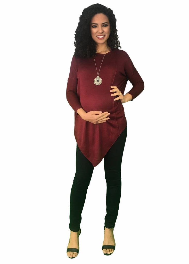 Asymmetric Maternity Jumper - Red Wine -