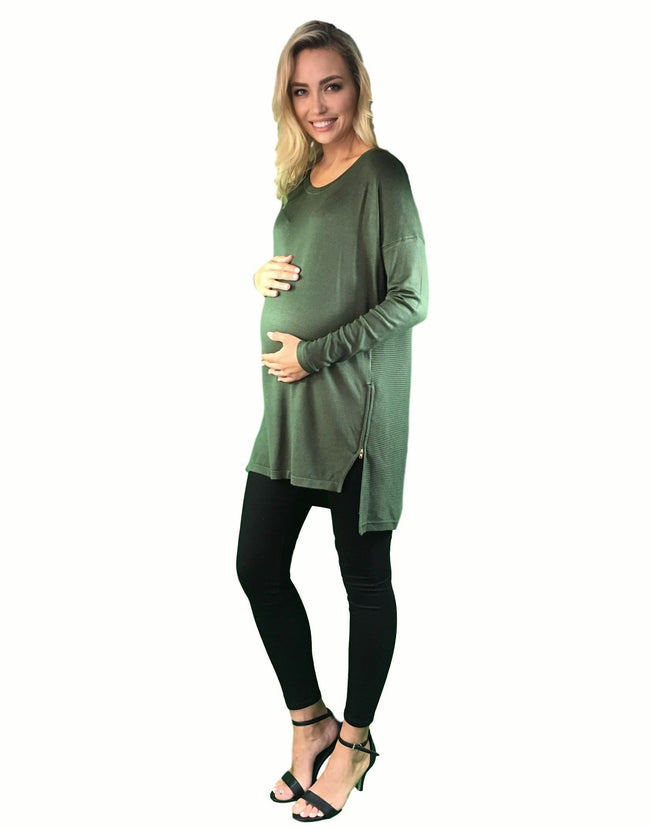 maternity knitted jumper - khaki